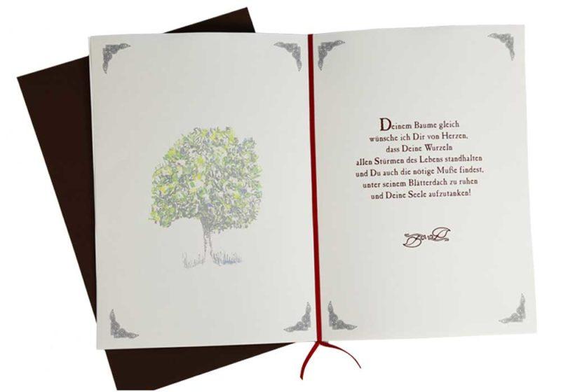 """Lebensbaum Geschenkkarte """"Antik"""" aufgeklappt"""
