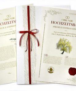 """Hochzeitsbaum Urkunde """"Elegance"""" mit Arabeske-Mappe und Geschenkschleife"""
